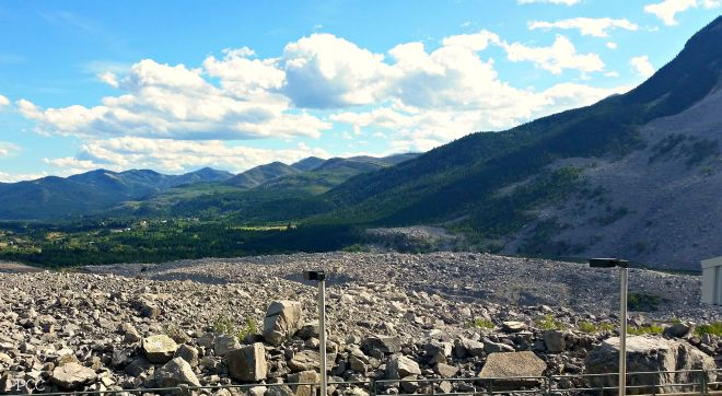 Impressive view of the rock field from the Frank Slide Interpretive Centre